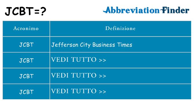 Che cosa significa l'acronimo jcbt