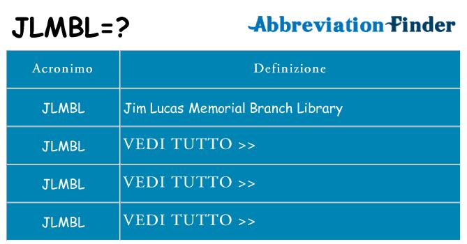 Che cosa significa l'acronimo jlmbl