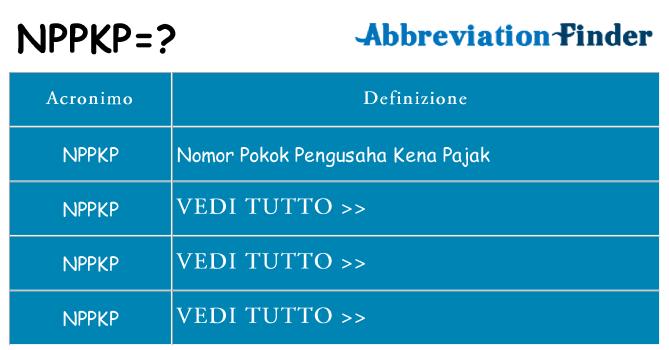 Che cosa significa l'acronimo nppkp