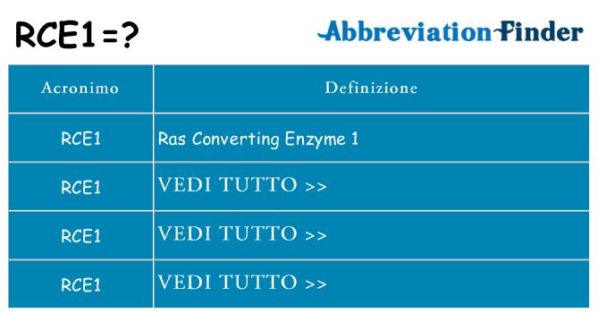 Che cosa significa l'acronimo rce1