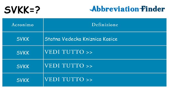 Che cosa significa l'acronimo svkk