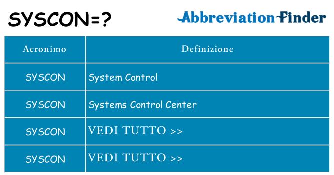 Che cosa significa l'acronimo syscon