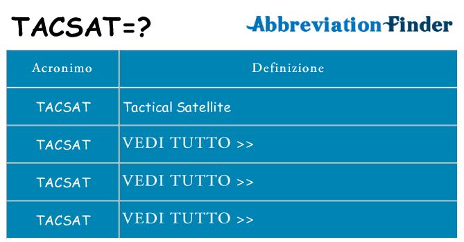 Che cosa significa l'acronimo tacsat