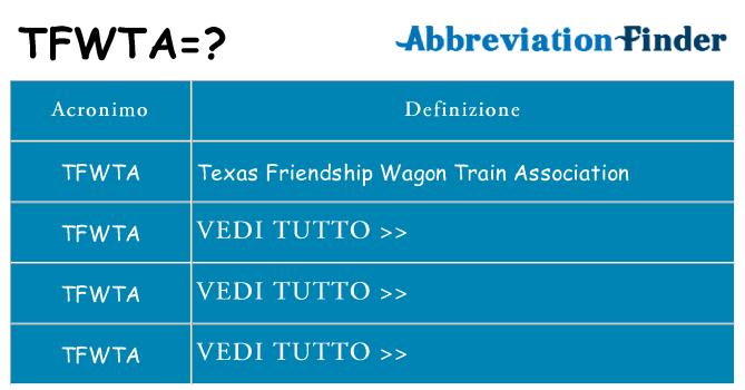 Che cosa significa l'acronimo tfwta
