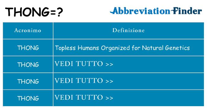 Che cosa significa l'acronimo thong