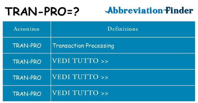 Che cosa significa l'acronimo tran-pro