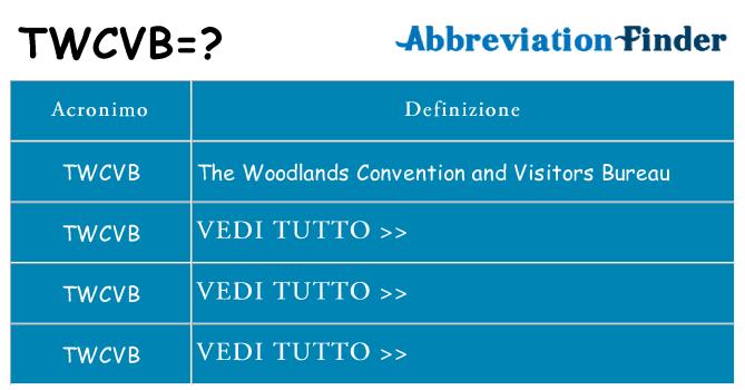 Che cosa significa l'acronimo twcvb