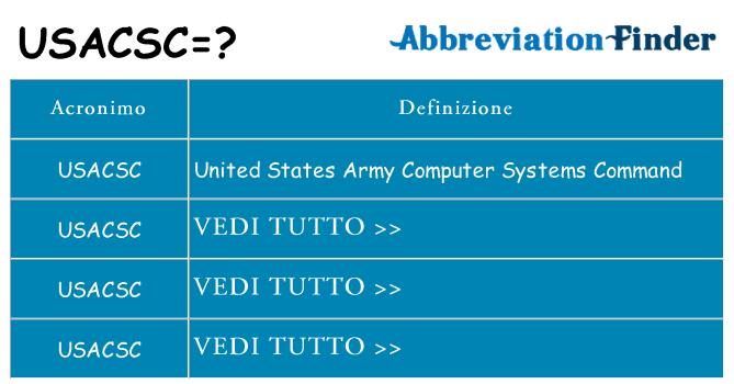 Che cosa significa l'acronimo usacsc