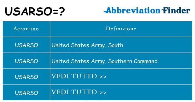 Che cosa significa l'acronimo usarso