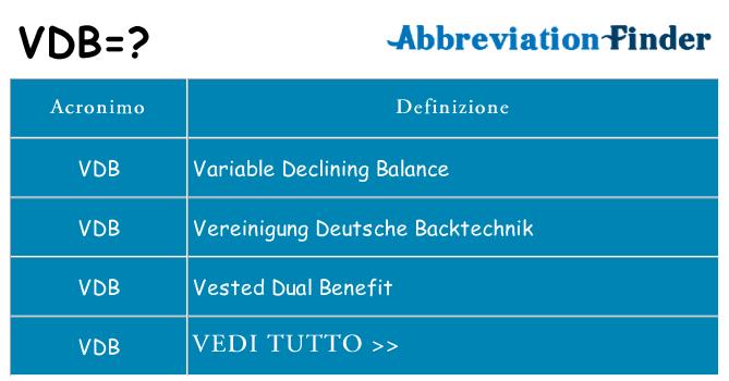 Che cosa significa l'acronimo vdb