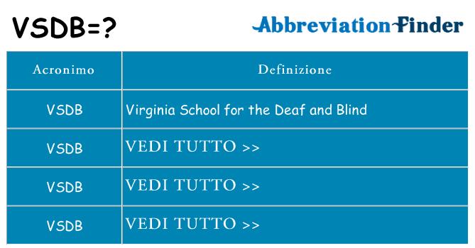 Che cosa significa l'acronimo vsdb