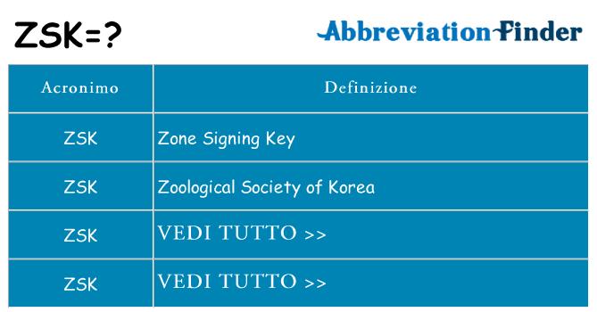 Che cosa significa l'acronimo zsk