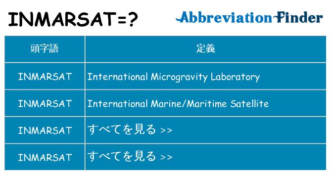 inmarsat は何の略します。