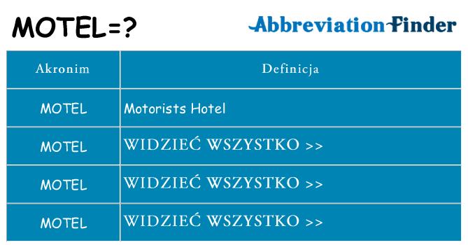 Co motel oznaczać