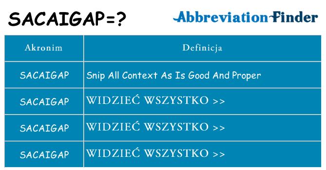 Co sacaigap oznaczać