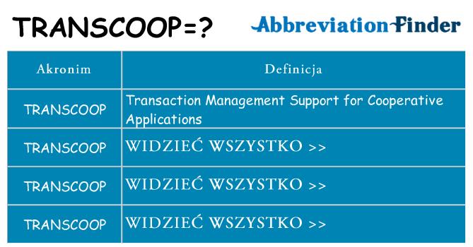 Co transcoop oznaczać
