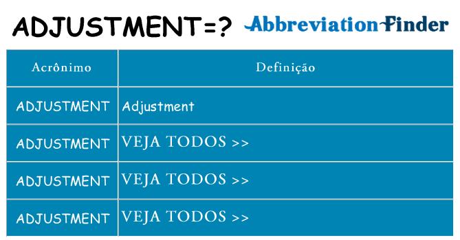 adjustment de quê