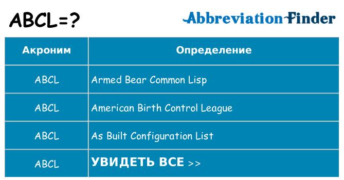Что означает аббревиатура abcl