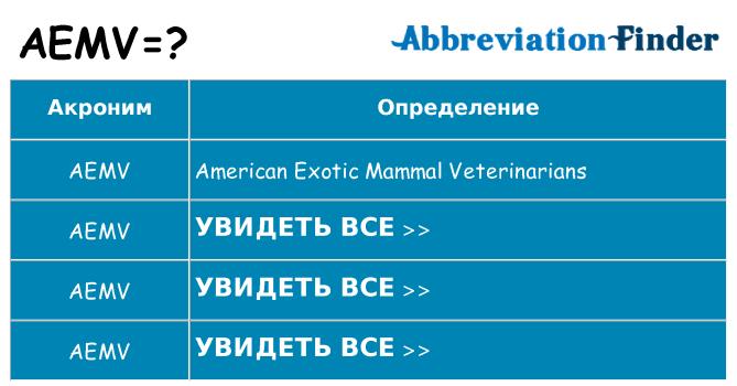 Что означает аббревиатура aemv