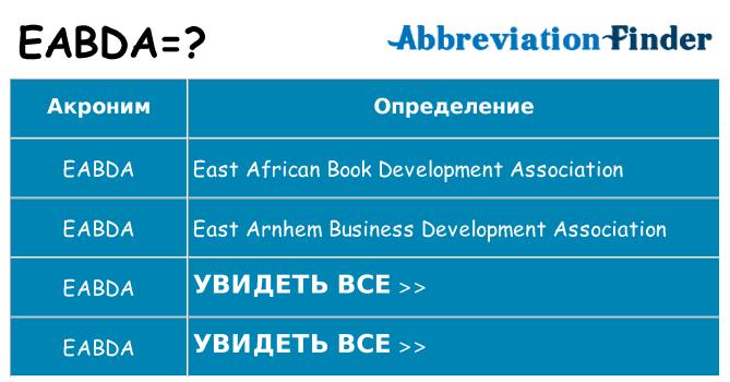 Что означает аббревиатура eabda