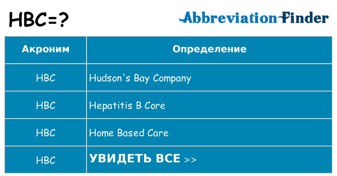 Что означает аббревиатура hbc