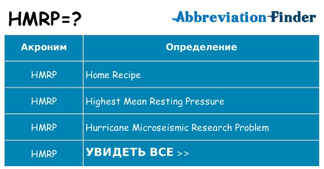 Что означает аббревиатура hmrp