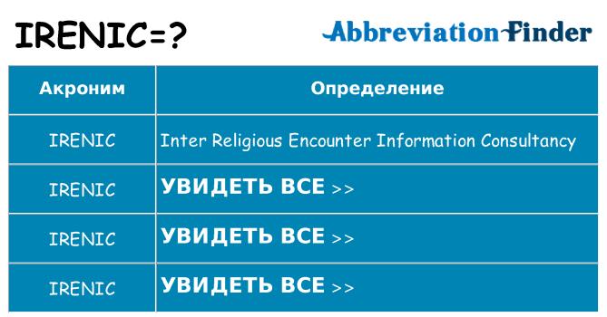 Что означает аббревиатура irenic