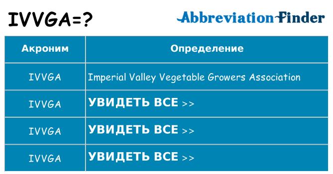 Что означает аббревиатура ivvga