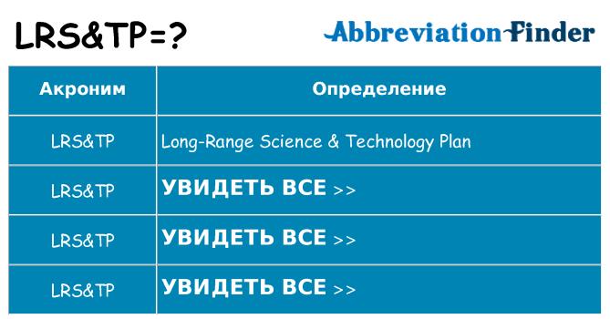 Что означает аббревиатура lrstp