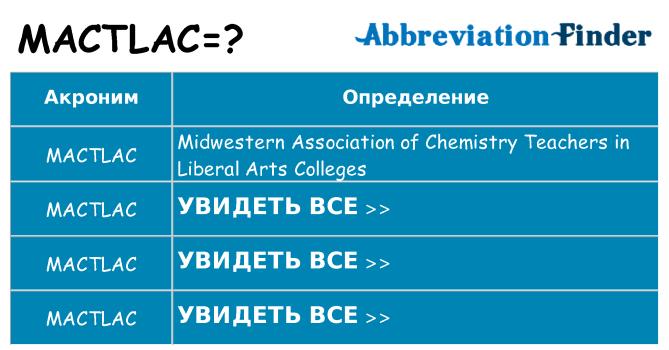 Что означает аббревиатура mactlac
