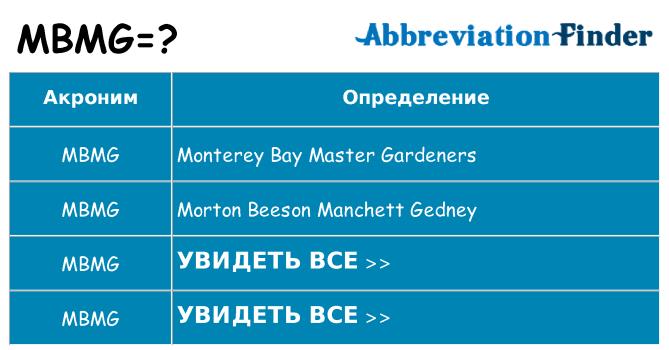 Что означает аббревиатура mbmg