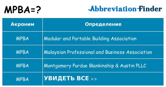 Что означает аббревиатура mpba