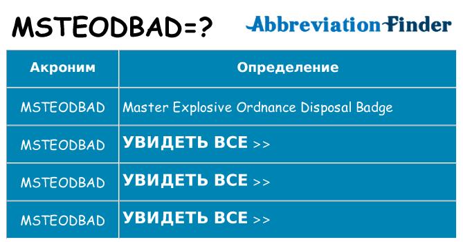 Что означает аббревиатура msteodbad