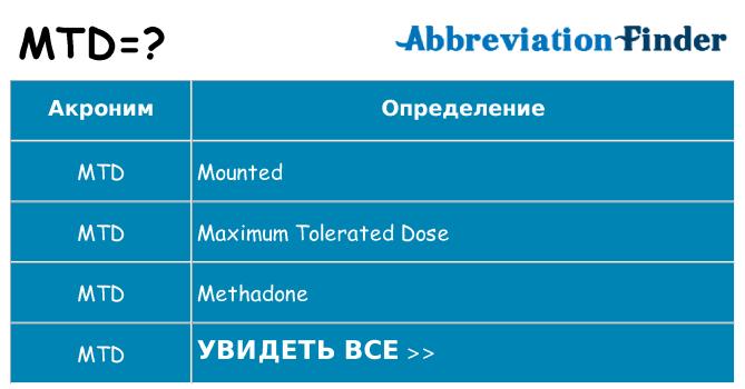 Что означает аббревиатура mtd