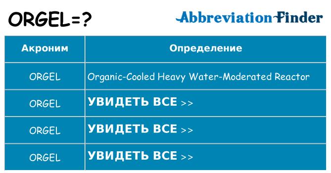 Что означает аббревиатура orgel