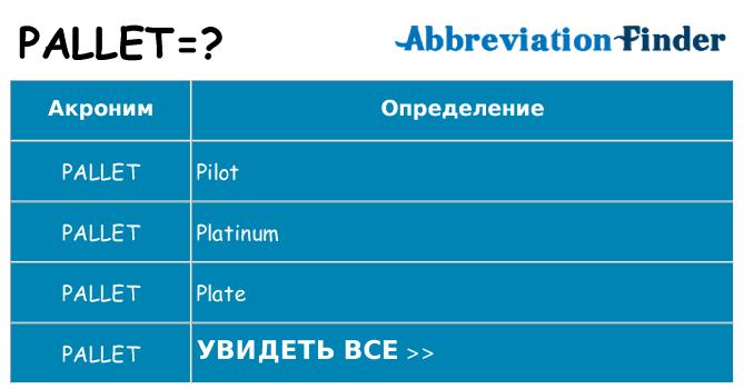 Что означает аббревиатура pallet