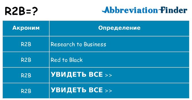 Что означает аббревиатура r2b