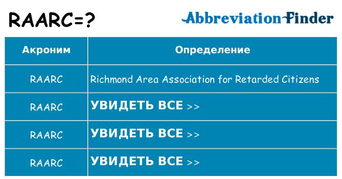 Что означает аббревиатура raarc