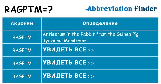 Что означает аббревиатура ragptm