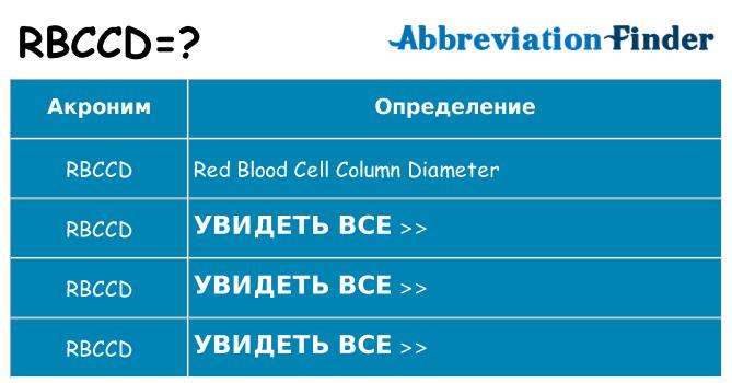 Что означает аббревиатура rbccd