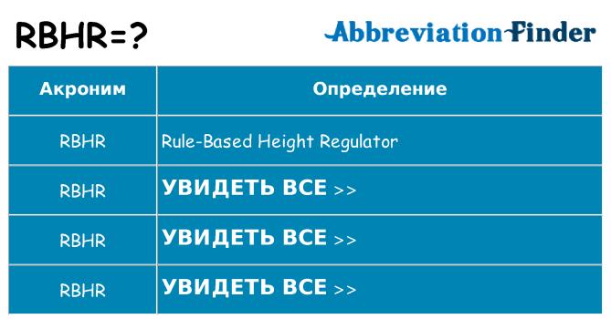 Что означает аббревиатура rbhr