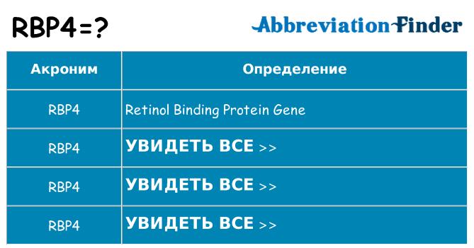 Что означает аббревиатура rbp4