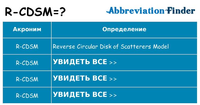 Что означает аббревиатура r-cdsm