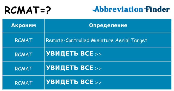 Что означает аббревиатура rcmat