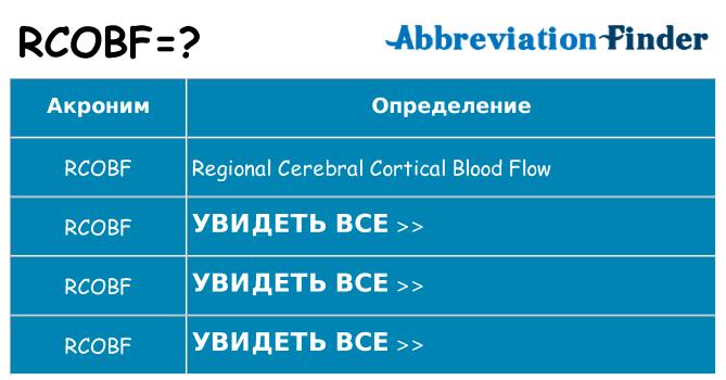 Что означает аббревиатура rcobf