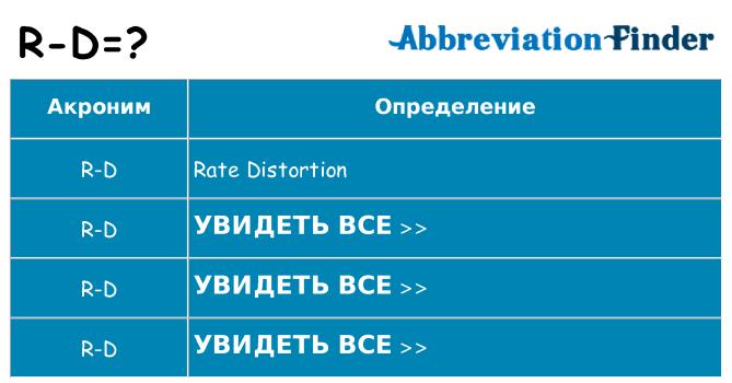 Что означает аббревиатура r-d