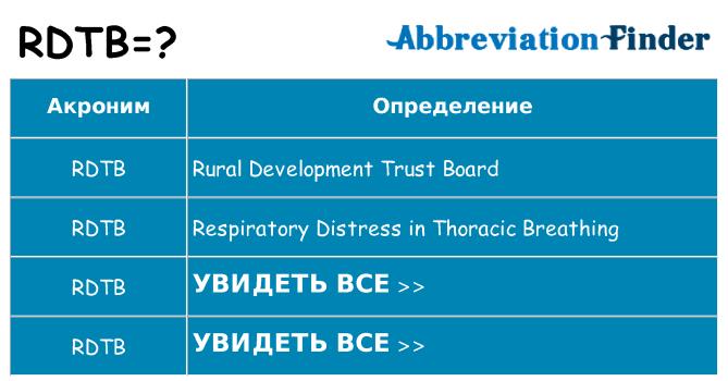 Что означает аббревиатура rdtb