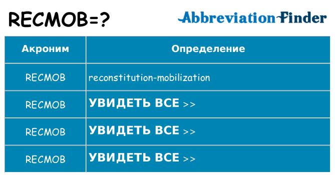 Что означает аббревиатура recmob