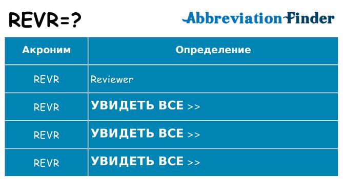 Что означает аббревиатура revr