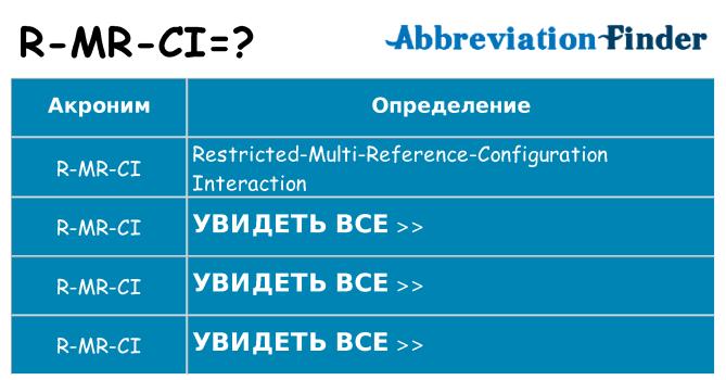 Что означает аббревиатура r-mr-ci